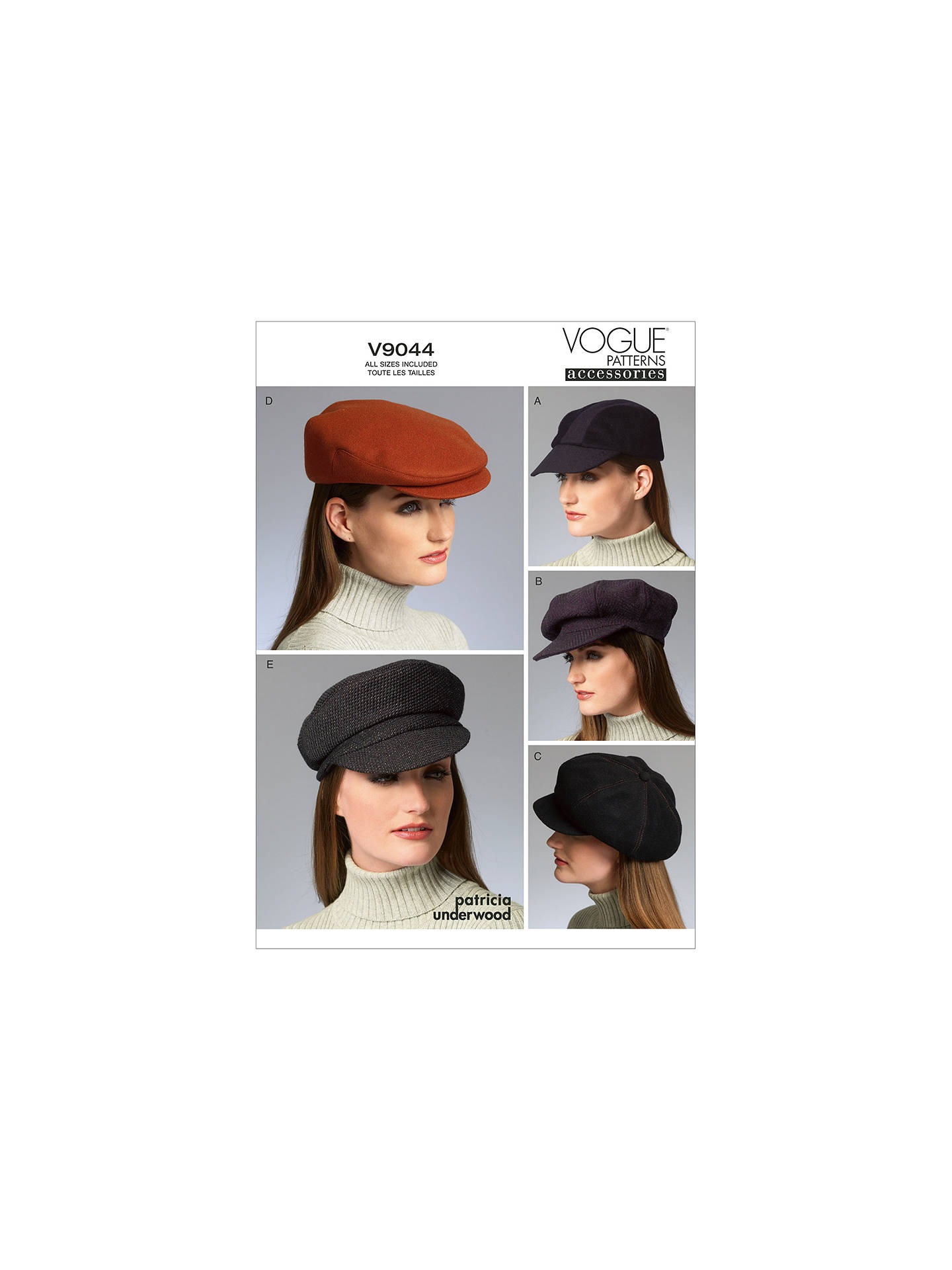 BuyVogue Patrcia Underwood Women s Hat Sewing Pattern bdfc4106566