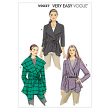 Buy Vogue Very Easy Women's Waterfall Jacket Sewing Pattern, 9037 Online at johnlewis.com