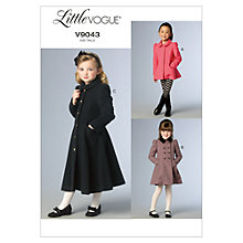 Buy Little Vogue Girls' Coat and Jacket Sewing Pattern, 9043 Online at johnlewis.com