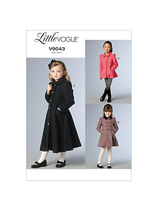 Little Vogue Girls' Coat and Jacket Sewing Pattern, 9043