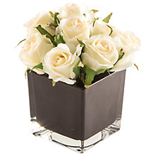 Buy Peony Artificial Cream Roses in Black Cube, Small Online at johnlewis.com