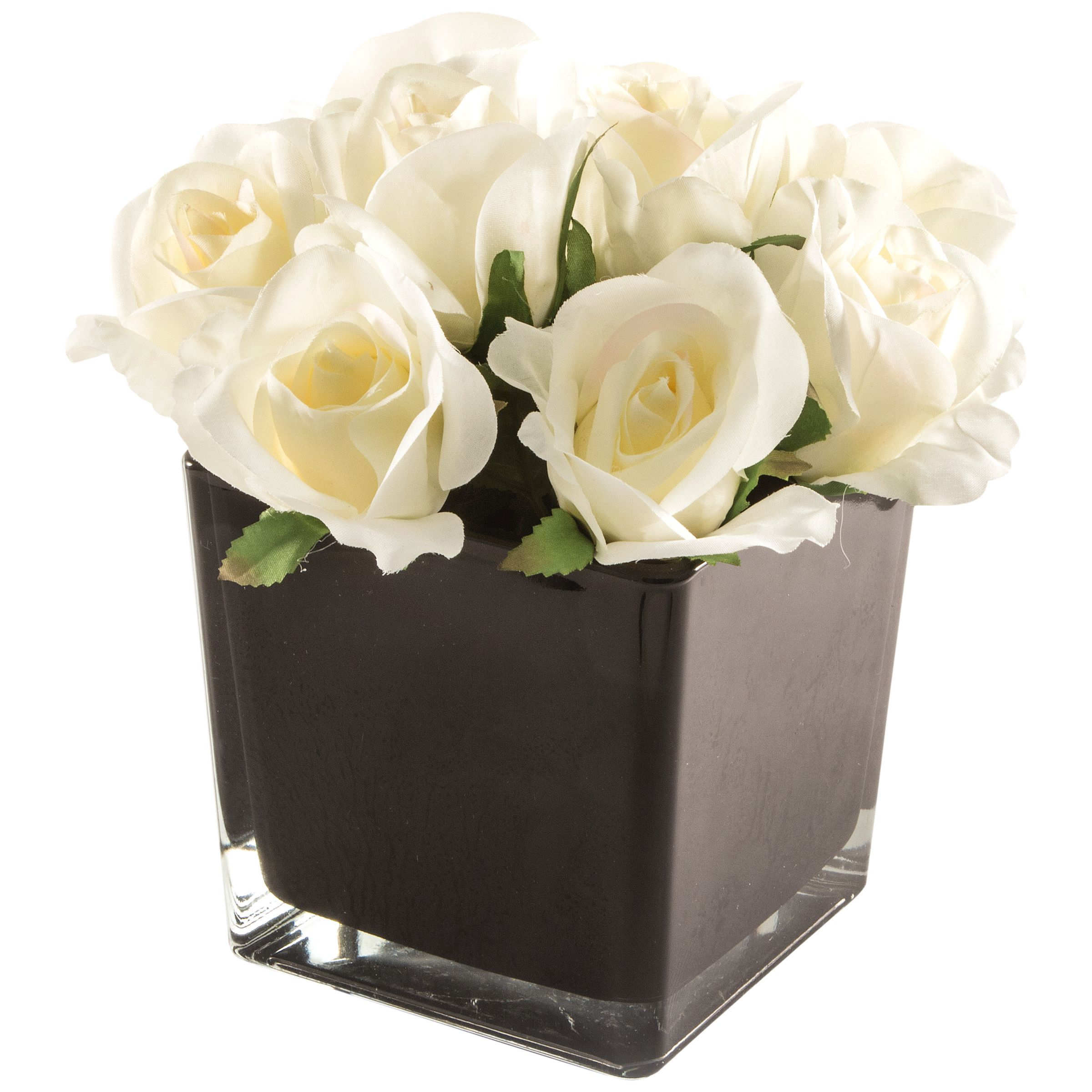 Peony Peony Artificial Cream Roses in Black Cube, Large