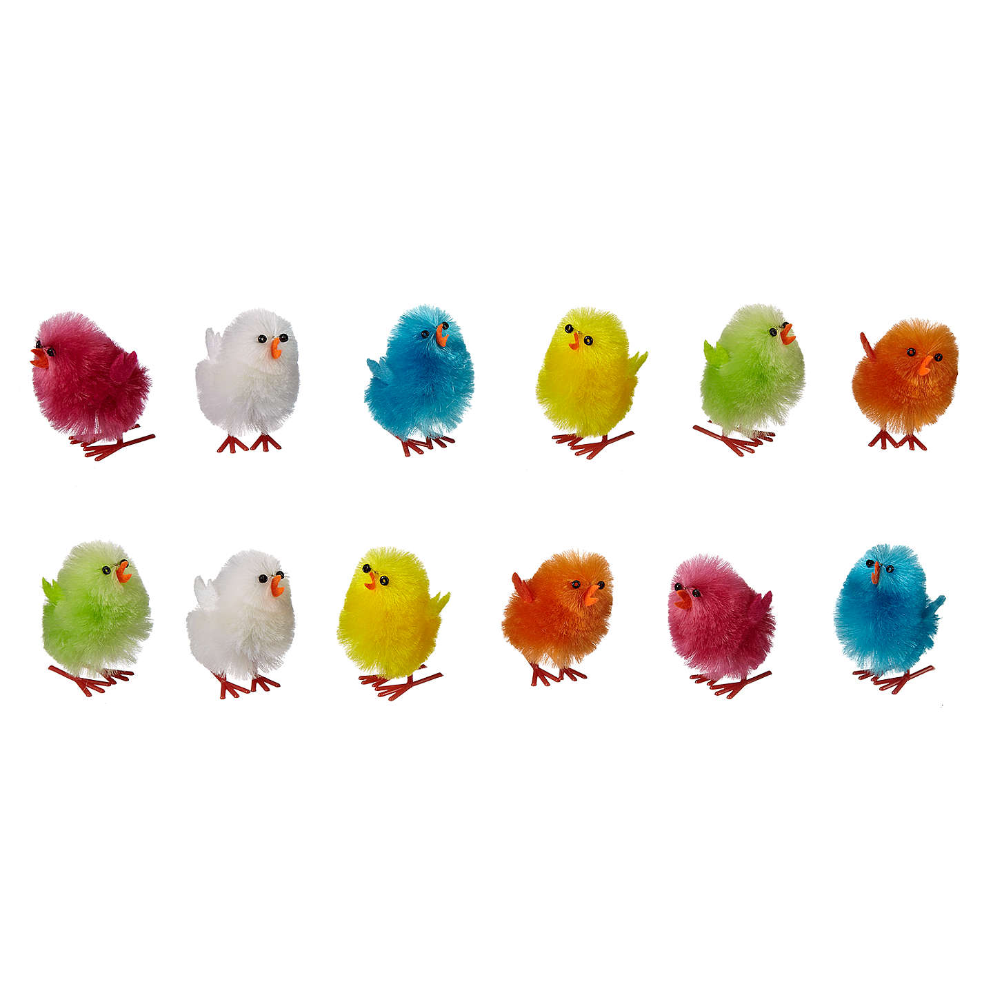 BuyJohn Lewis Multi-Coloured Fluffy Chicks, Pack of 12 Online at johnlewis.com