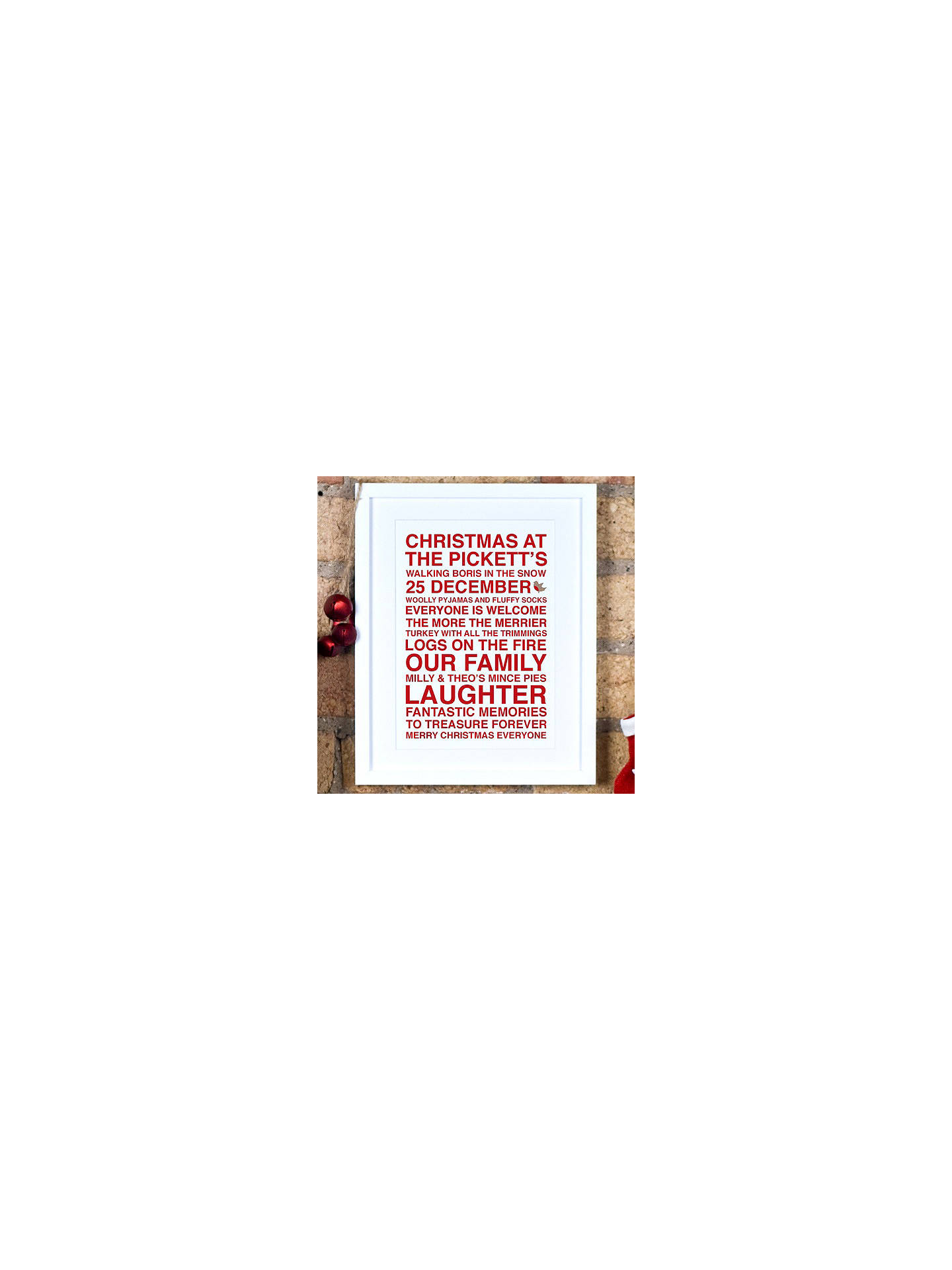 BuyMegan Claire Personalised Christmas Framed Print, 35.5 x 27.5cm, Red Online at johnlewis.com
