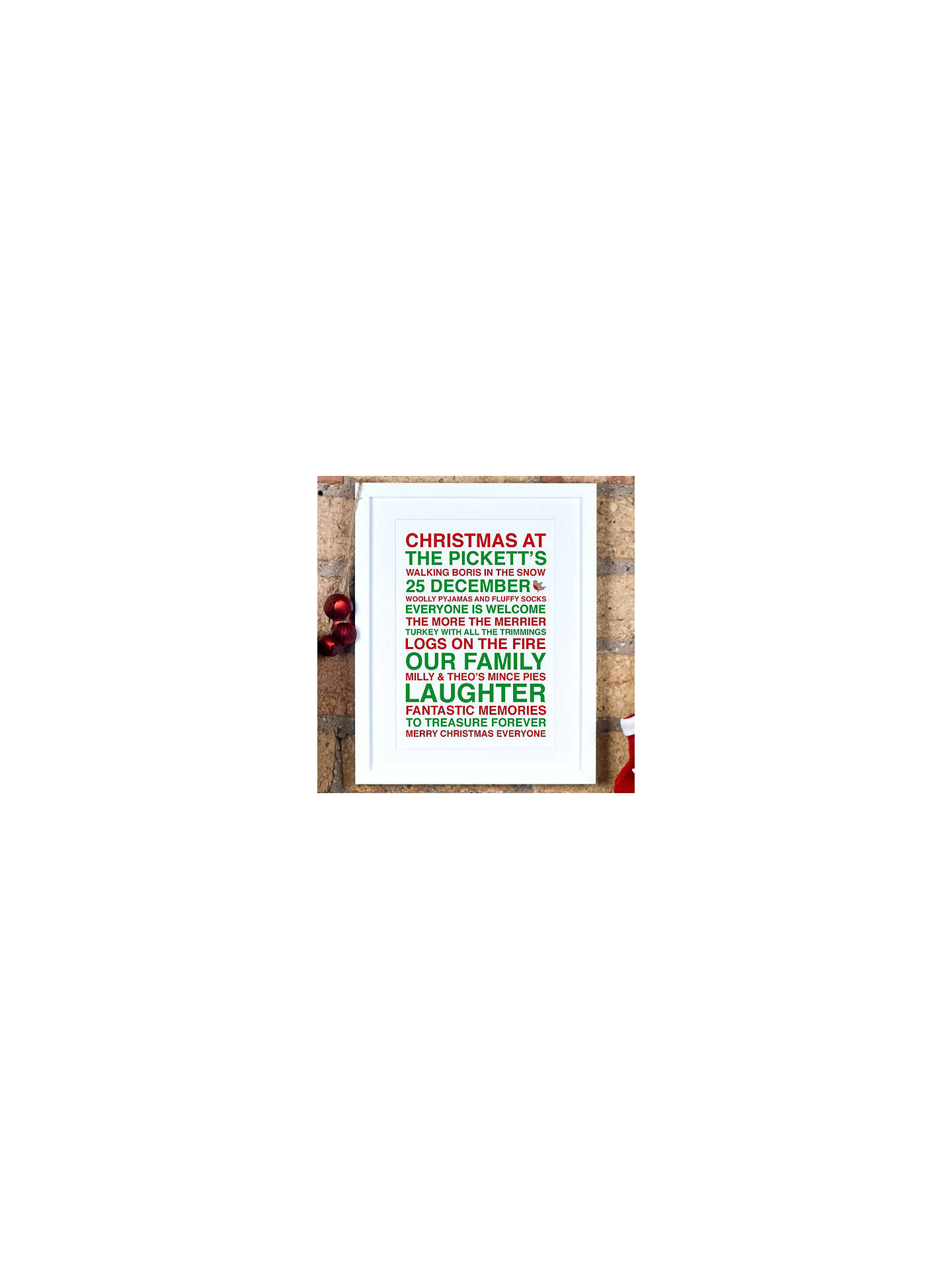 BuyMegan Claire Personalised Christmas Framed Print, 35.5 x 27.5cm, Green/Red Online at johnlewis.com