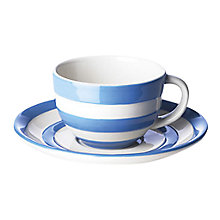 Buy Cornishware Cup and Saucer, Blue/White, Seconds Online at johnlewis.com