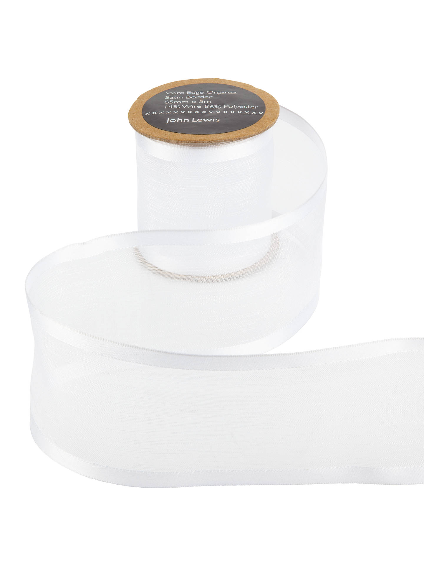 BuyJohn Lewis & Partners Wire Edge Satin Border Ribbon, 65mm, White Online at johnlewis.com