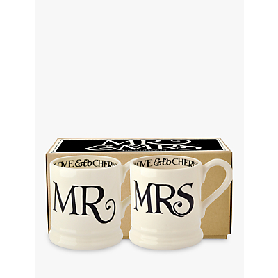 Emma Bridgewater Black Toast Mr & Mrs Mugs, Set of 2