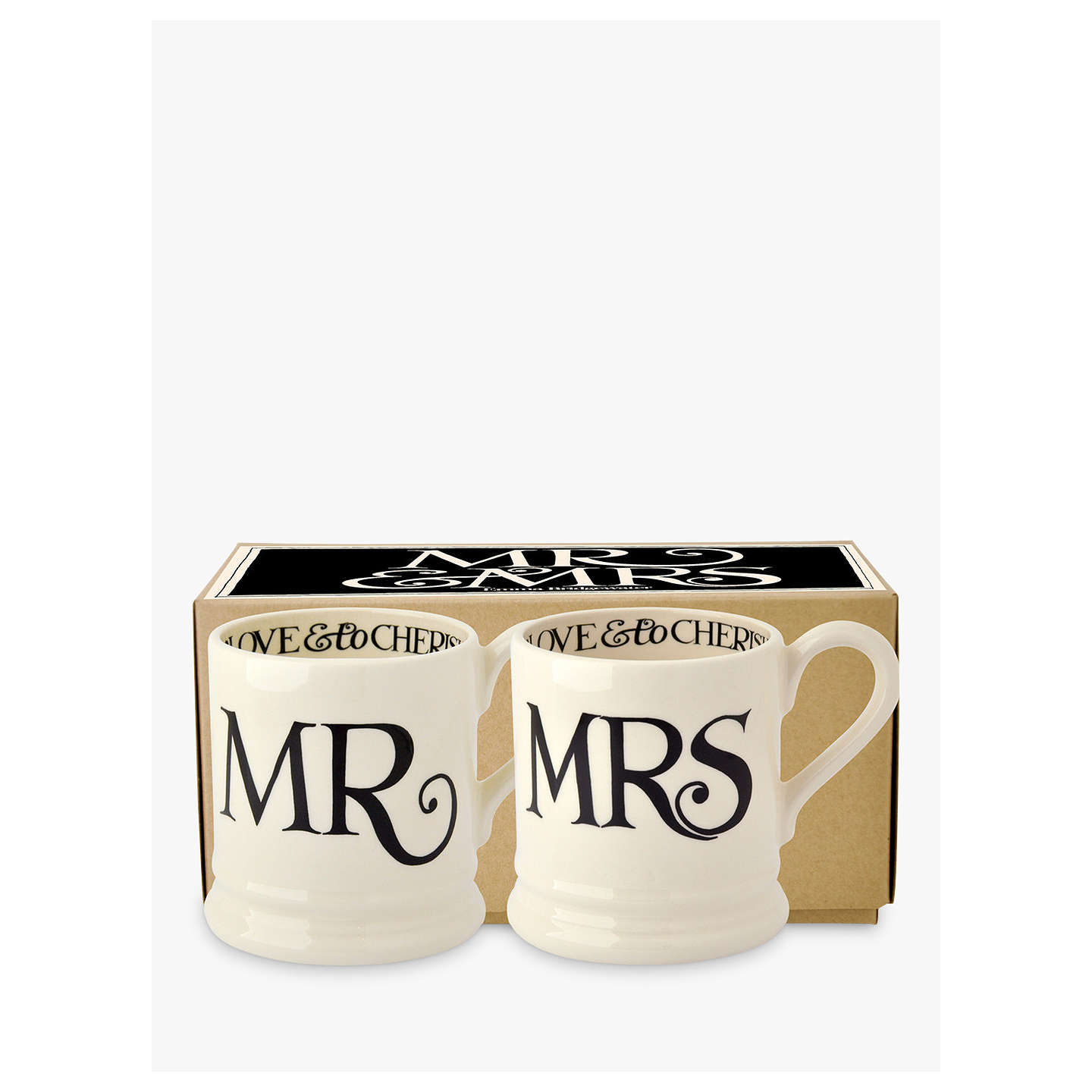 BuyEmma Bridgewater Black Toast Mr & Mrs Mugs, Set of 2, 310ml Online at johnlewis.com
