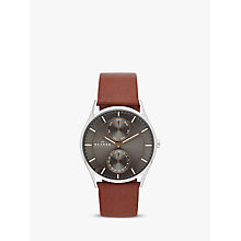 Buy Skagen SKW6086 Men's Holst Single Chronograph Leather Strap Watch, Brown/Grey Online at johnlewis.com