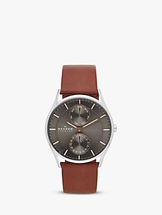 Skagen SKW6086 Men's Holst Single Chronograph Leather Strap Watch, Brown/Grey