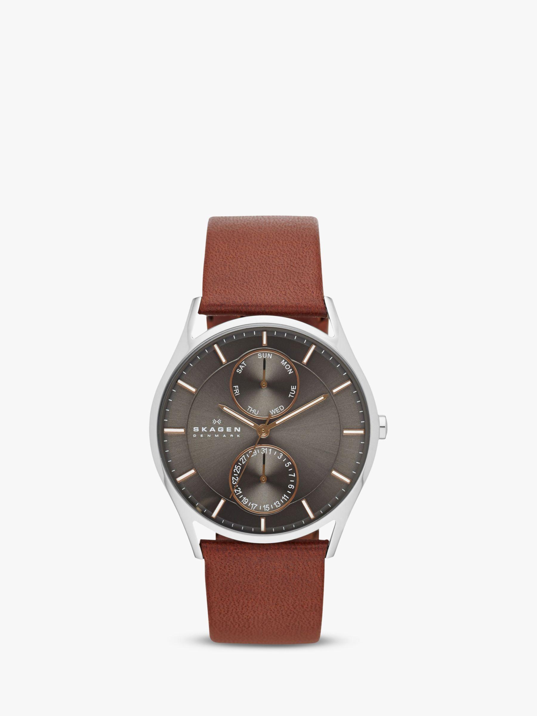 skagen Skagen SKW6086 Men's Holst Single Chronograph Leather Strap Watch, Brown/Grey