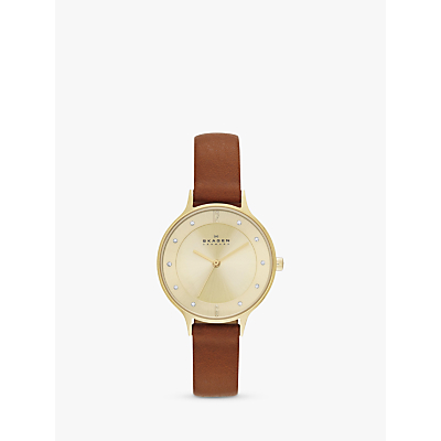 Skagen SKW2147 Women's Anita Leather Strap Watch, Tan/Gold
