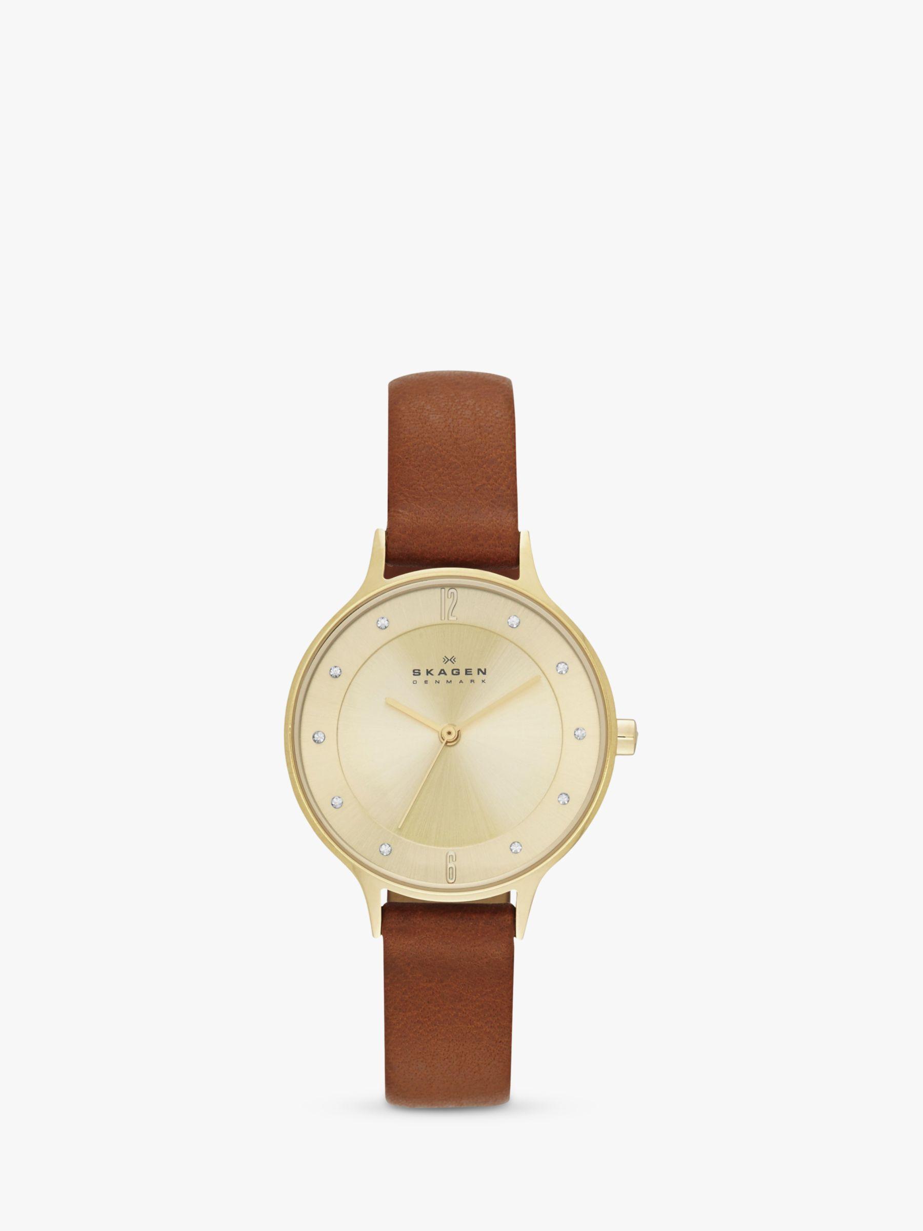 skagen Skagen SKW2147 Women's Anita Leather Strap Watch, Tan/Gold