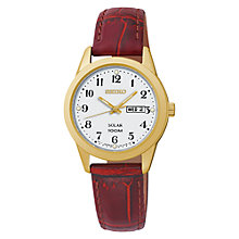 Buy Seiko SUT196P1 Women's Solar Leather Strap Watch, Brown/White Online at johnlewis.com