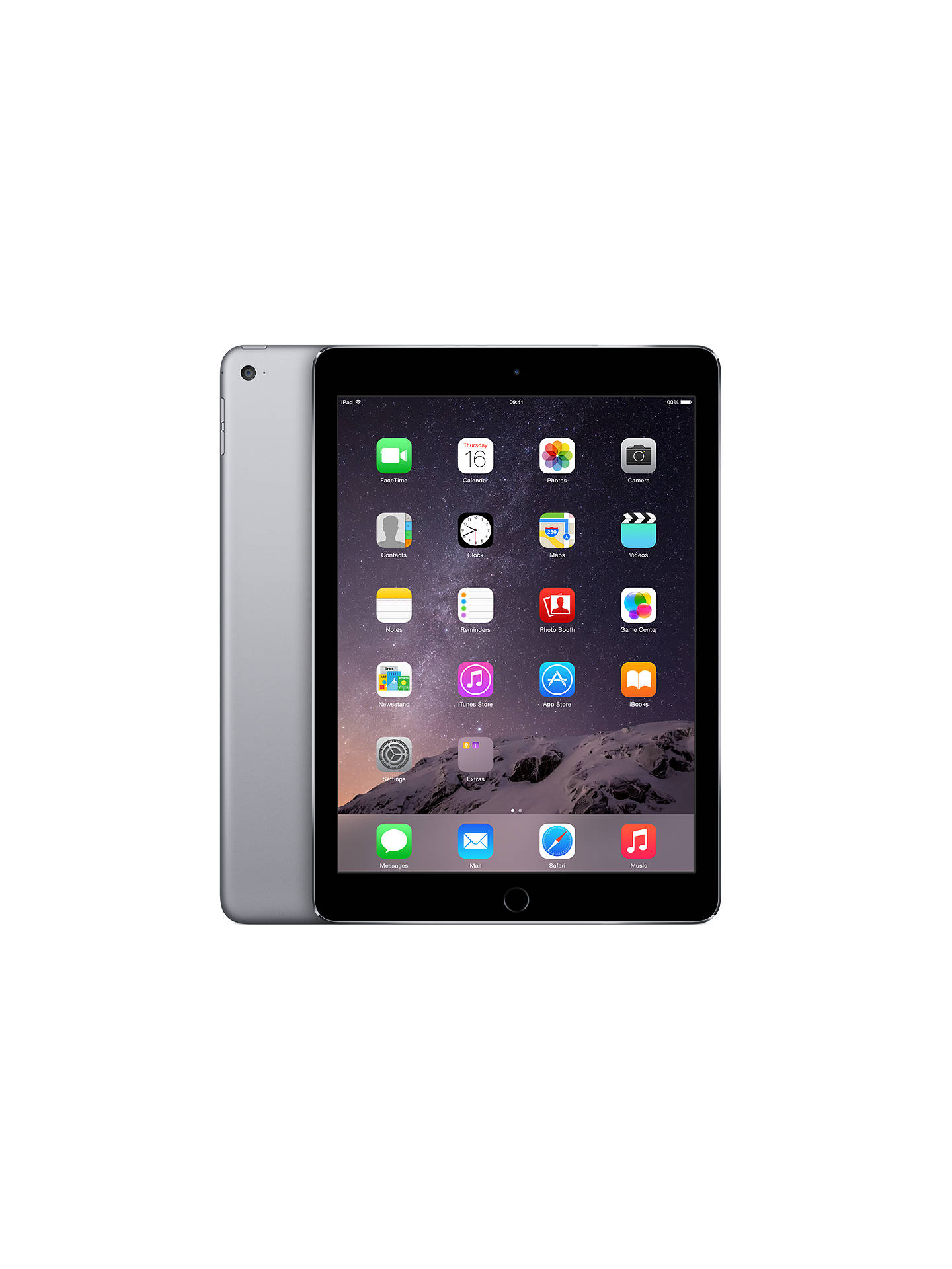 "Buy Apple iPad Air 2, Apple A8X, iOS, 9.7"", Wi-Fi, 16GB, Space Grey Online at johnlewis.com"