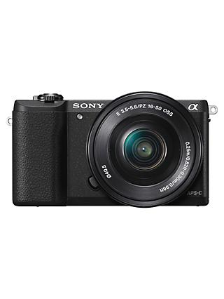 "Sony A5100 Compact System Camera with 16-50mm OSS Lens, HD 1080p, 24.3MP, Wi-Fi, NFC, OLED, 3"" Tilting Touch Screen"