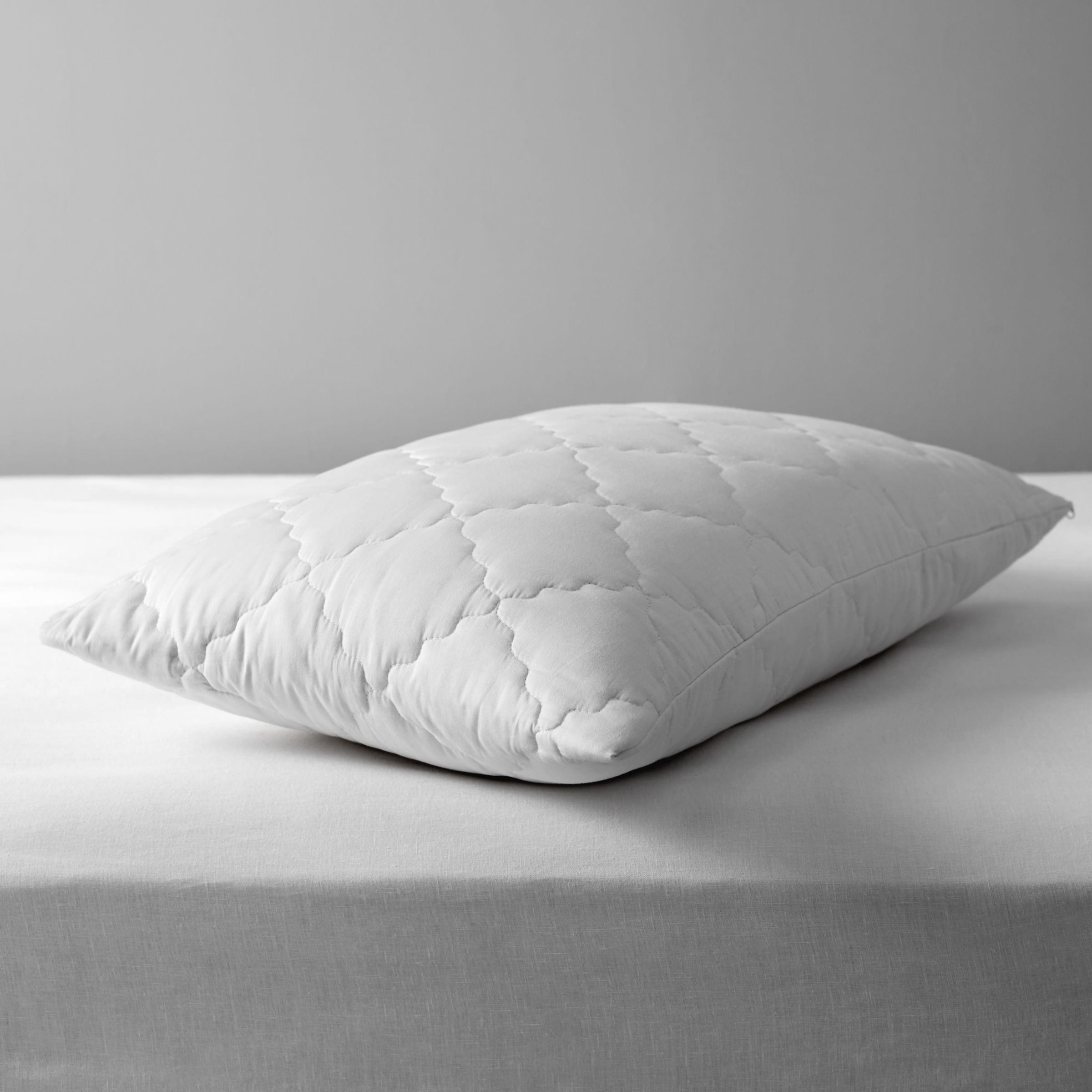 John Lewis & Partners Natural Collection Pure Cotton Quilted Standard Pillow Enhancer