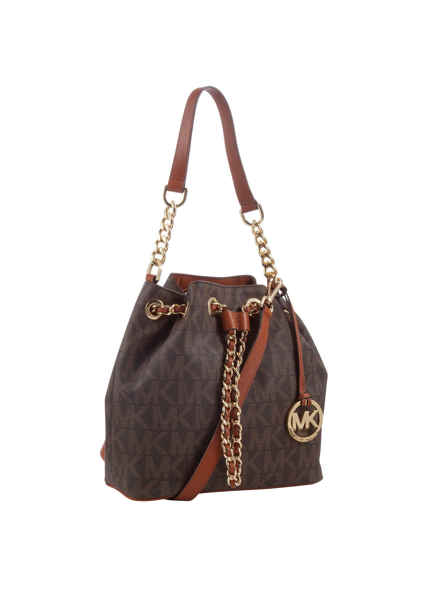 b4ab4baffb00 Buy MICHAEL Michael Kors Frankie Leather Medium Drawstring Bucket Bag,  Brown Online at johnlewis.