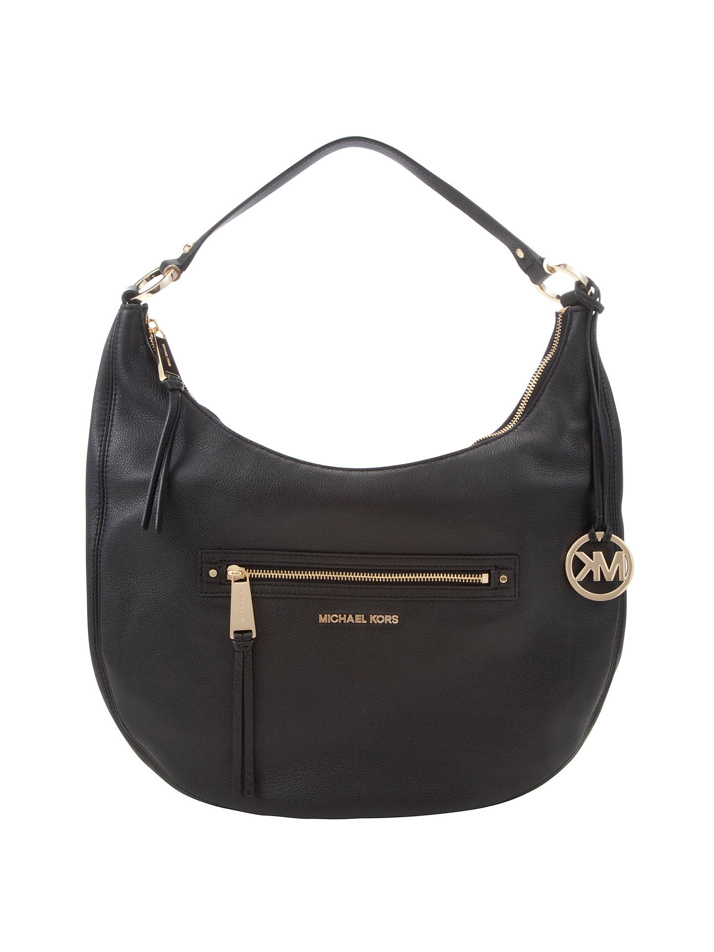 aa51954daa6d Buy MICHAEL Michael Kors Rhea Large Leather Zip Shoulder Bag, Black Online  at johnlewis.