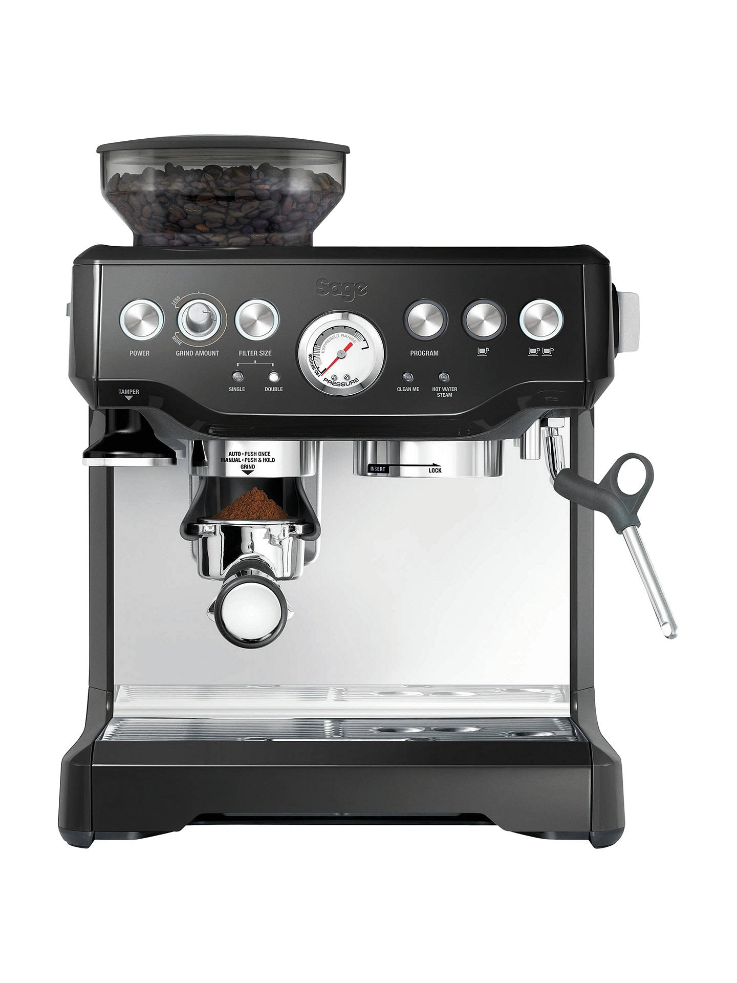 BuySage Barista Express Bean-to-Cup Coffee Machine, Stainless Steel/Black Online at johnlewis.com