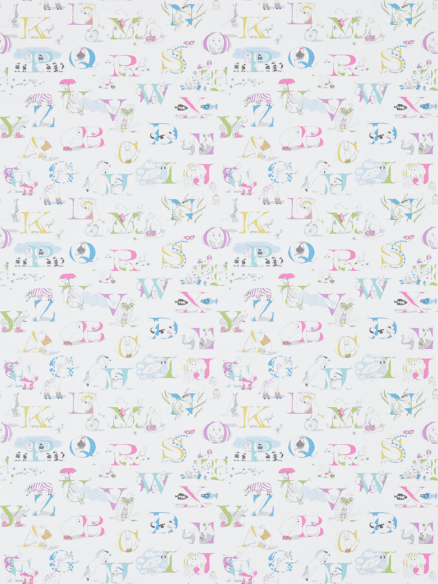 Buy Sanderson Alphabet Zoo Wallpaper, Neapolitan, DLIT214023 Online at johnlewis.com