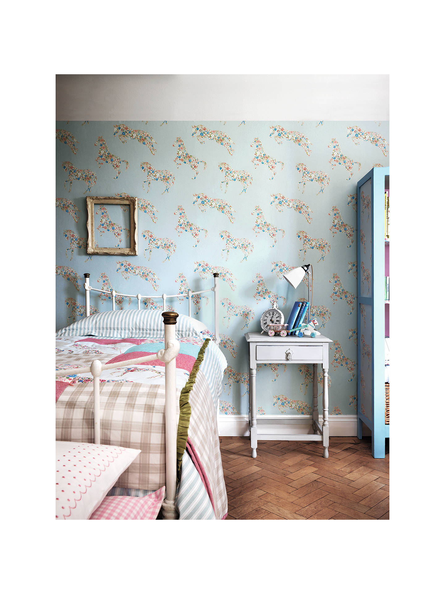 Buy Sanderson Pretty Ponies Wallpaper, Chintz / Blue, DLIT214035 Online at johnlewis.com