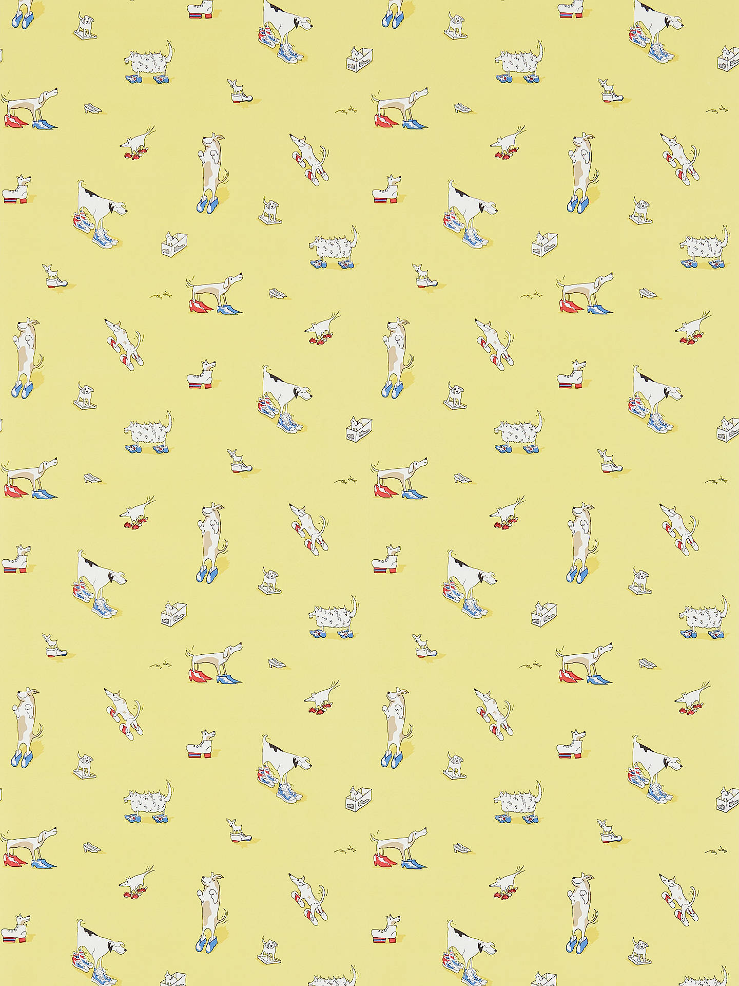 Buy Sanderson Dogs in Clogs Wallpaper, Yellow, DLIT214012 Online at johnlewis.com