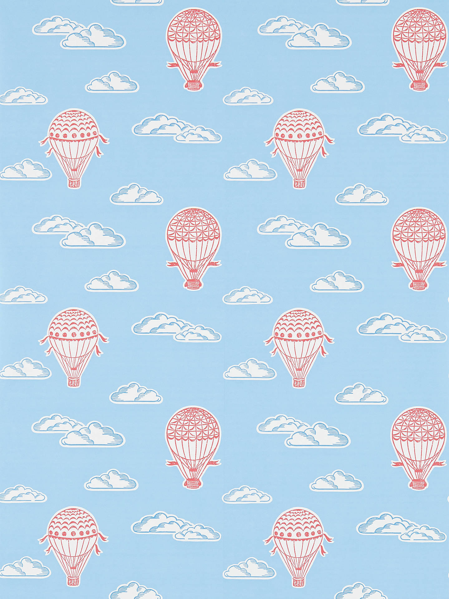 BuySanderson Balloons Wallpaper Sky Blue Red DLIT214030 Online At Johnlewis