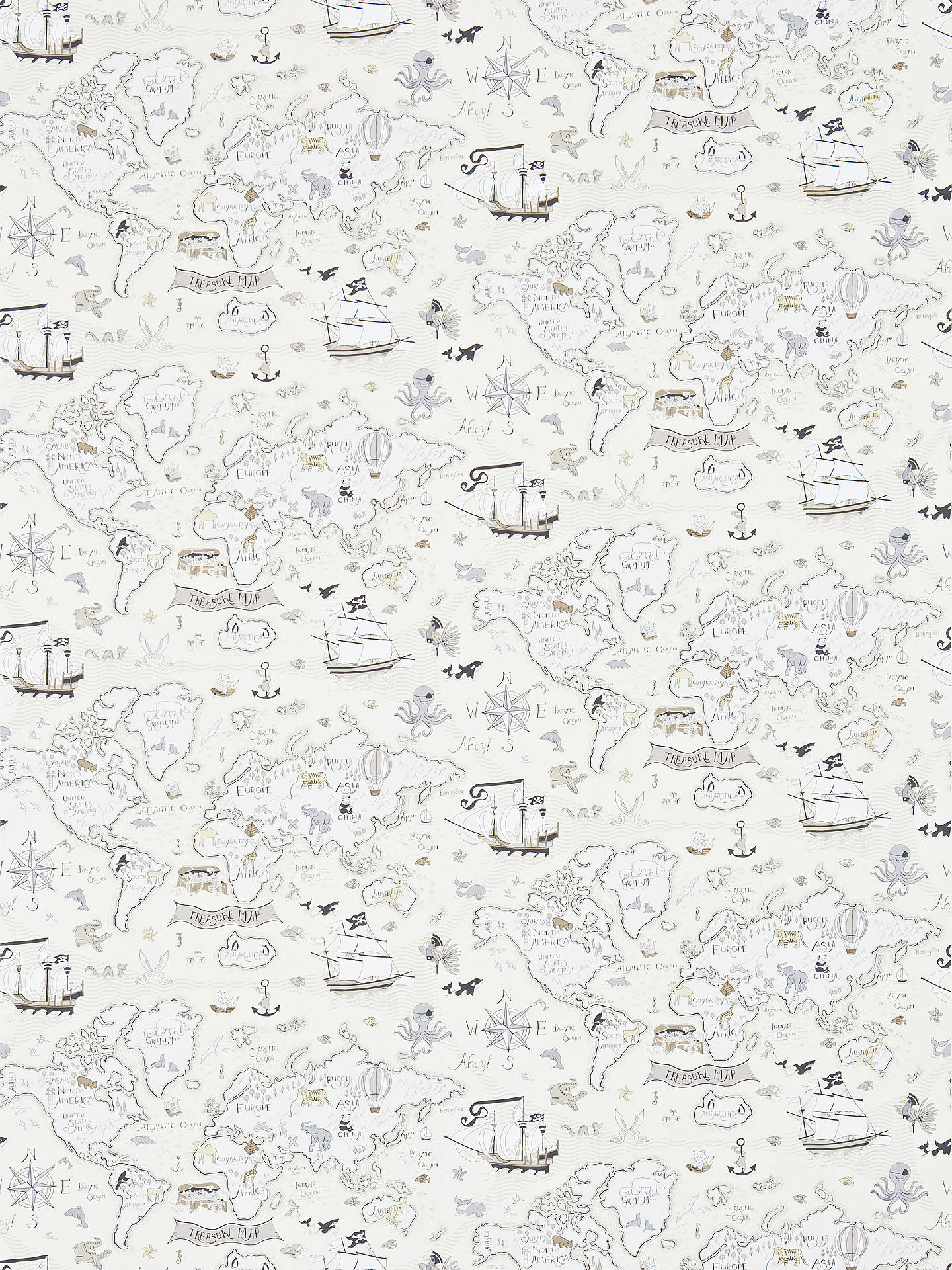 Buy Sanderson Treasure Map Wallpaper, Neutral, DLIT214039 Online at johnlewis.com