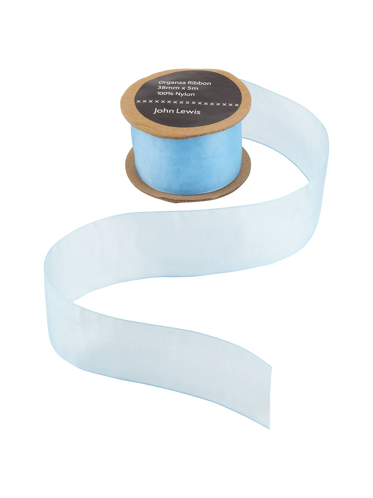 Buy John Lewis & Partners Woven Edge Organza Ribbon, 38mm, Blue Online at johnlewis.com