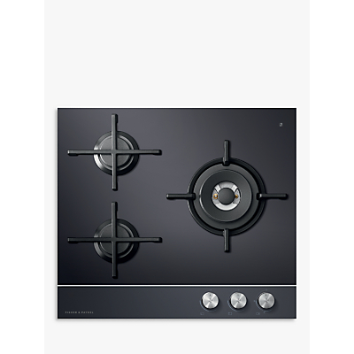 Fisher & Paykel CG603DLPGB1 LPG Gas Hob, Black Glass