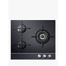 Buy Fisher & Paykel CG603DLPGB1 LPG Gas Hob, Black Glass Online at johnlewis.com
