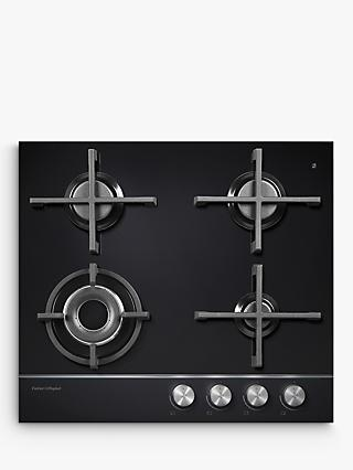 Fisher & Paykel CG604DLPGB1 LPG Gas Hob, Black Glass