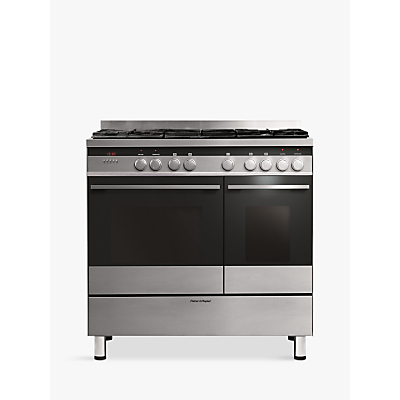 Image of Fisher & Paykel OR90L7DBGFX Dual-Fuel Range Cooker, Brushed Stainless Steel and Black Glass