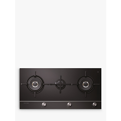 Fisher & Paykel CG903DLPGB1 LPG Gas Hob, Black Glass