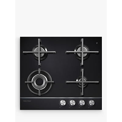 Fisher & Paykel CG604DNGGB1 Gas Hob, Black Glass