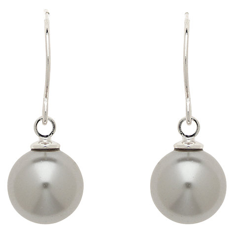 Buy Finesse Faux Pearl Hook Drop Earrings, Grey Online at johnlewis.com