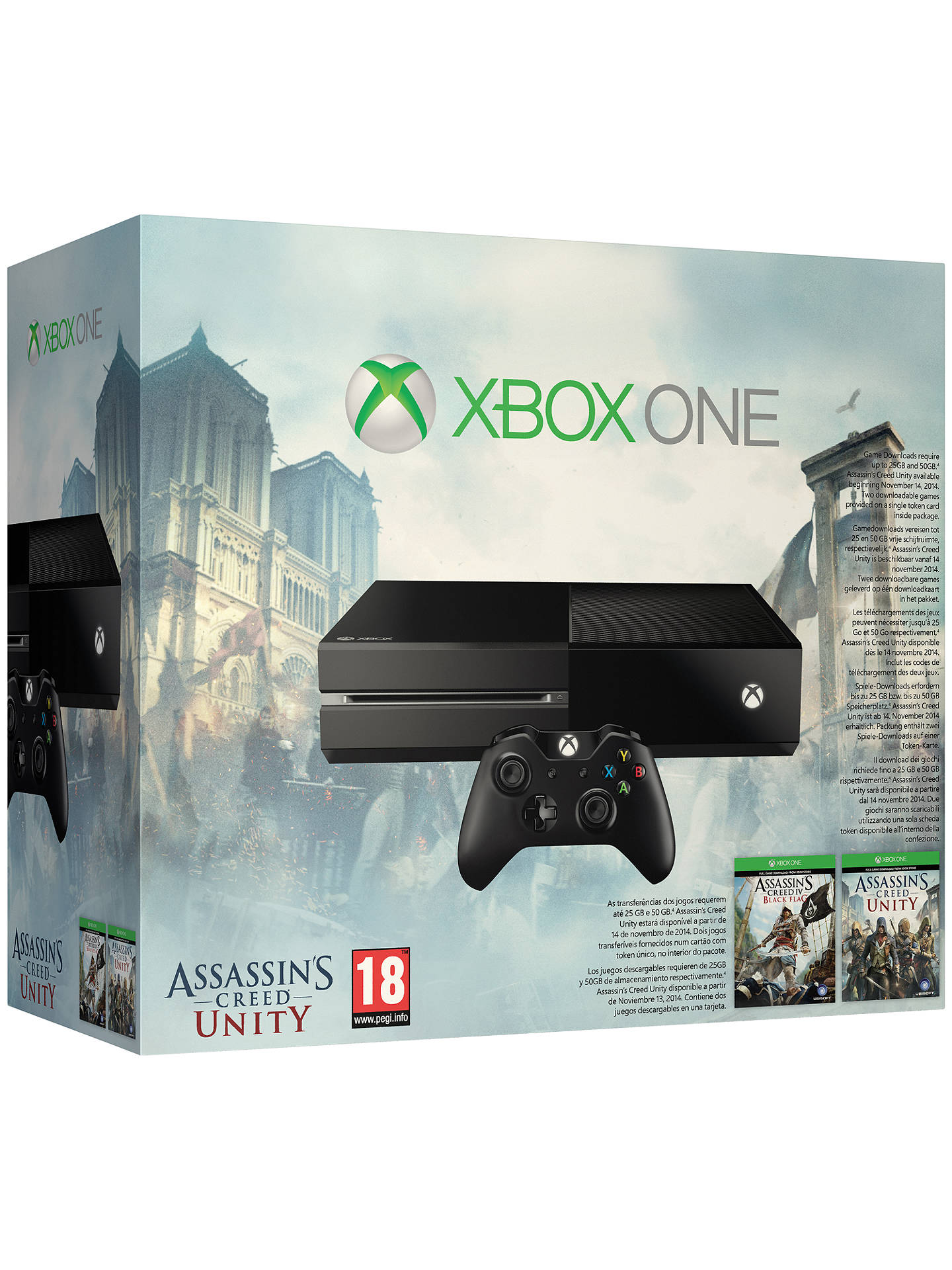 Microsoft Xbox One Console With Assassin S Creed Unity And Assassin S Creed Iv Black Flag At John Lewis Partners