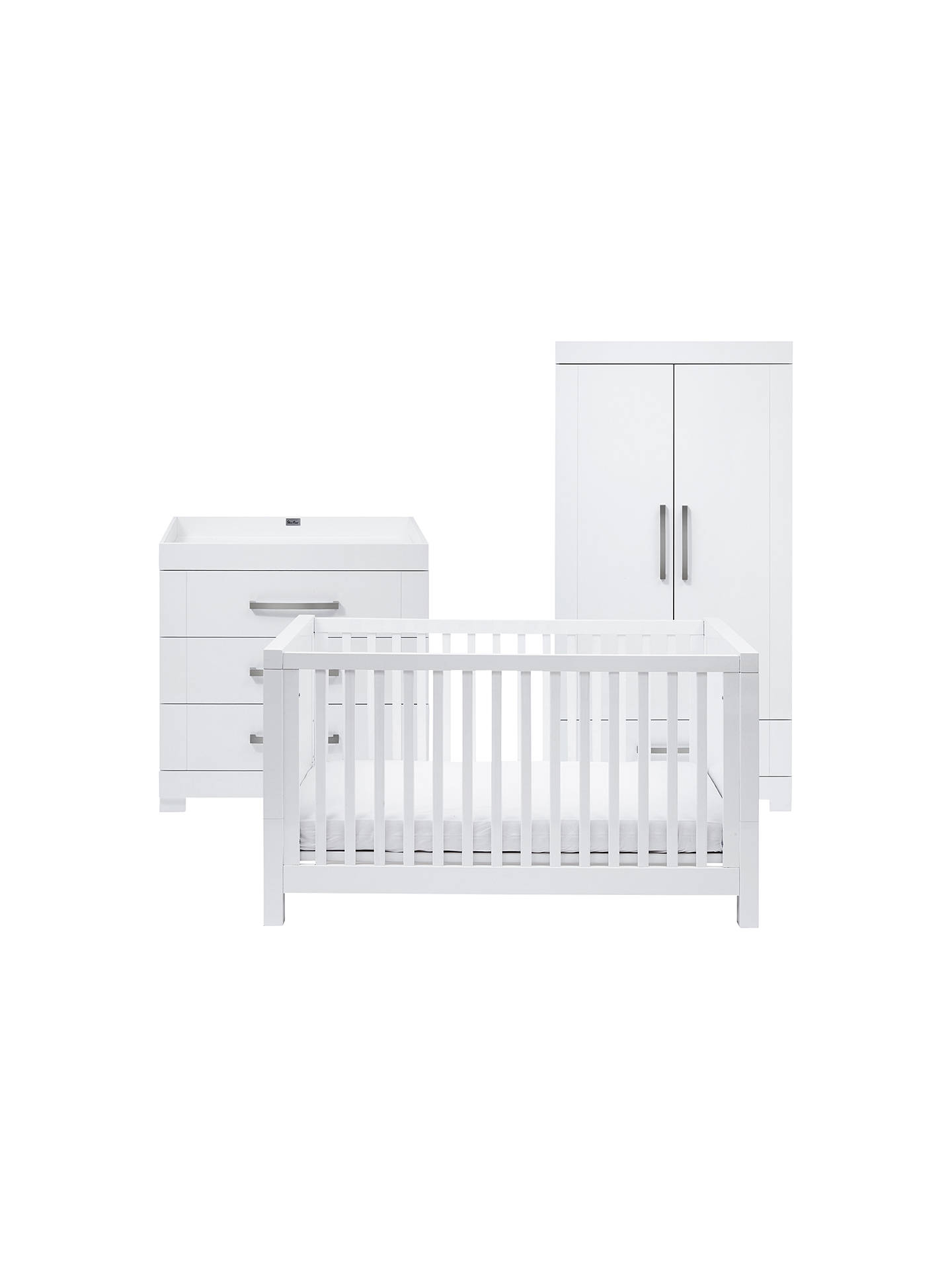 Buy Silver Cross Notting Hill Cotbed, Dresser & Wardrobe, Gloss White Online at johnlewis.com
