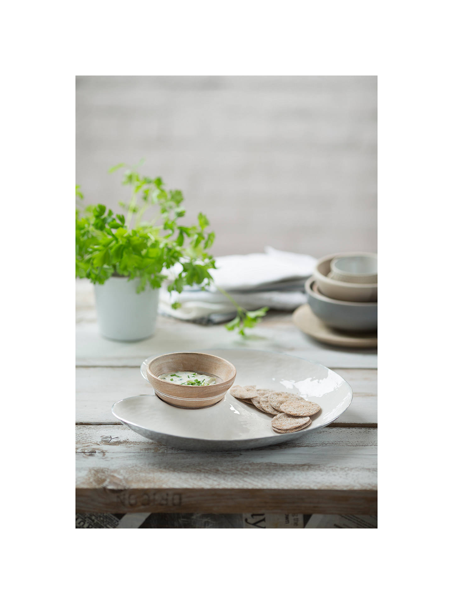 BuyJust Slate Chip & Dip Plate with Mango Wood Bowl Online at johnlewis.com