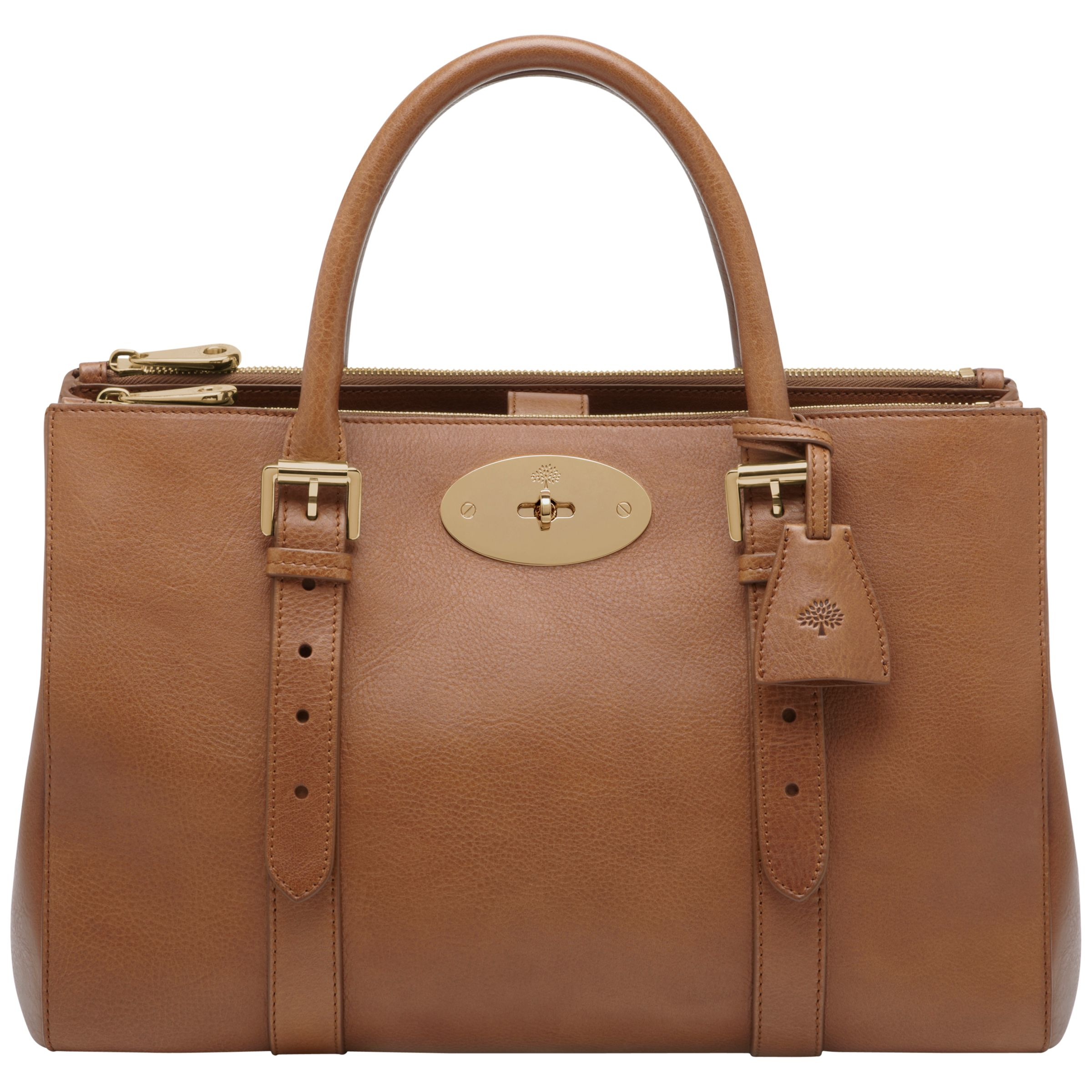ad835c2dbf1 Mulberry Bayswater Leather Double Zip Tote Bag, Oak at John Lewis   Partners