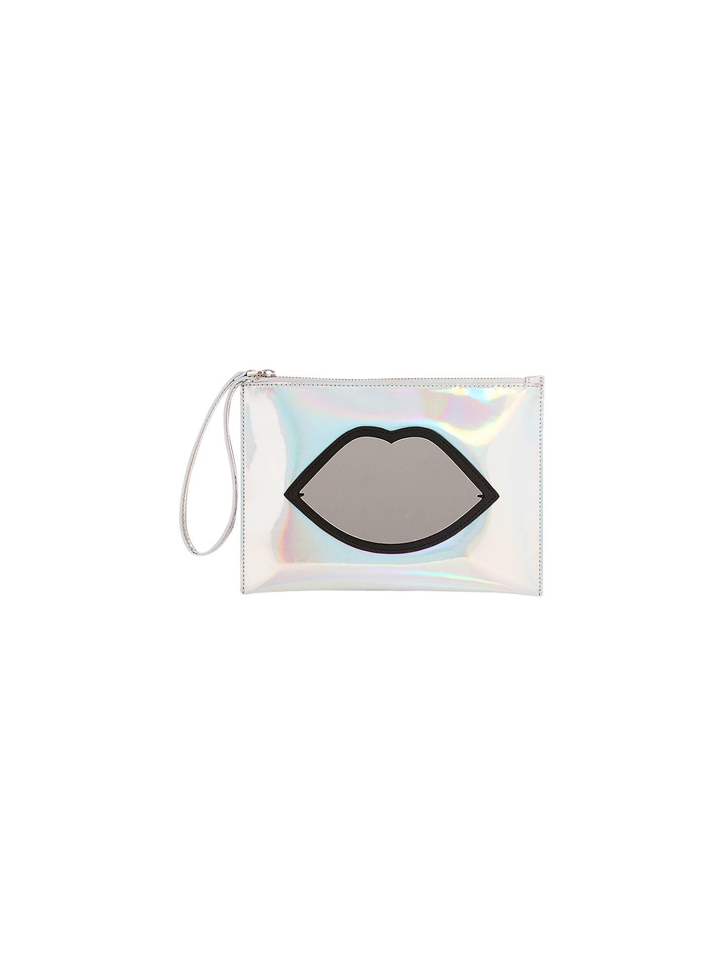 cca8498d3d450 Lulu Guinness Silver Hologram   Mirror Perspex Lips Zip Pouch Clutch ...