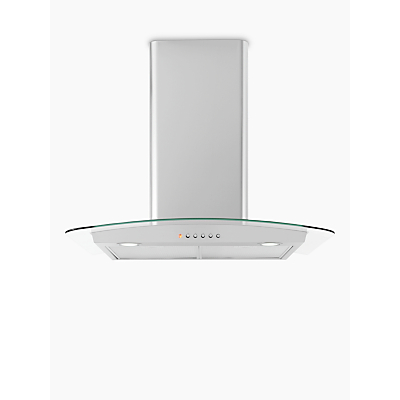 Image of John Lewis & Partners JLHDA623 Chimney Cooker Hood, Stainless Steel and Curved Clear Glass