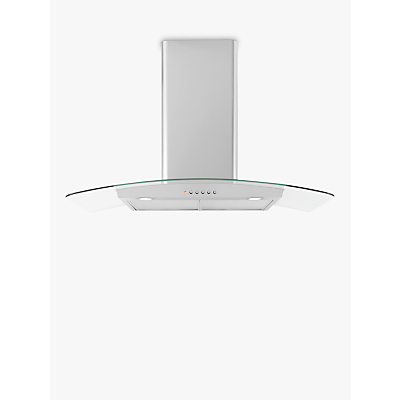 Image of John Lewis & Partners JLHDA923 Chimney Cooker Hood, Stainless Steel and Curved Clear Glass