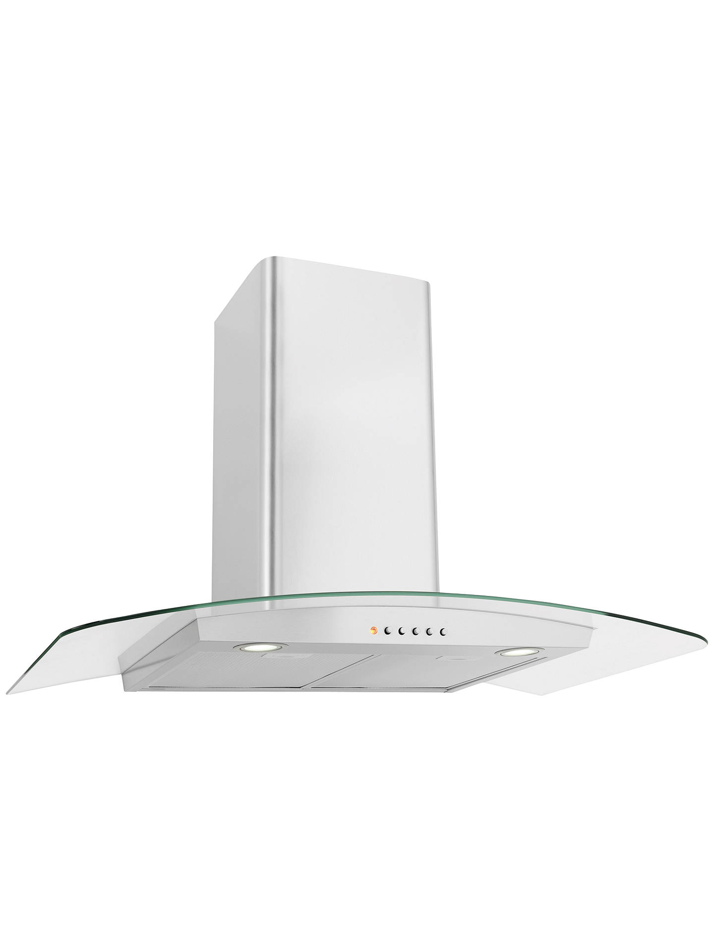 BuyJohn Lewis & Partners JLHDA923 Chimney Cooker Hood, Stainless Steel and Curved Clear Glass Online at johnlewis.com