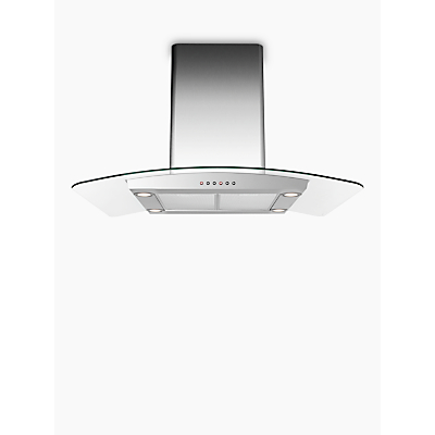 Image of John Lewis & Partners JLISHDA901 Island Chimney Cooker Hood, Stainless Steel and Curved Clear Glass