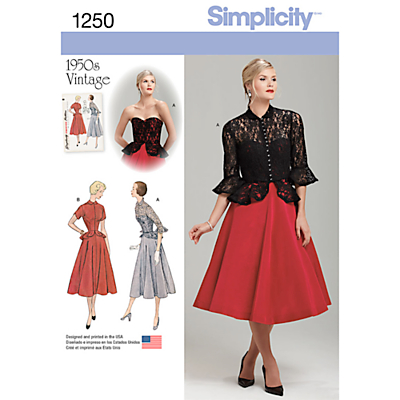 1950s Sewing Patterns- Dresses, Skirts, Tops, Pants Simplicity Womens Vintage Dress and Jacket Sewing Pattern 1250 £9.95 AT vintagedancer.com