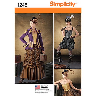 Vintage Inspired Halloween Costumes Simplicity Womens Steampunk Costume Sewing Pattern 1248 £6.95 AT vintagedancer.com