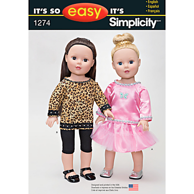 Product photo of Simplicity doll clothes sewing pattern 1274